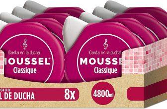 Moussel Gel Líquido Classique con Aceites Esenciales Naturales – Paquete de 8 x 600 ml